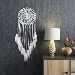 $enCountryForm.capitalKeyWord Australia - White Lace Flower Dreamcatcher Wind Chimes Feather Pendant Dream Catcher Creative Car Hanging Home Decoration Gift