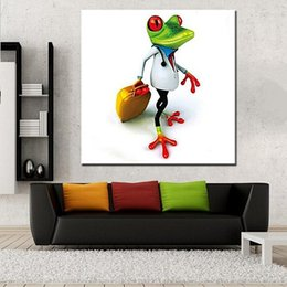 Discount funny hand art Hand-painted Abstract Animal Funny Frog Oil Painting On High Quality Canvas Modern Home Decor Wall Art a119