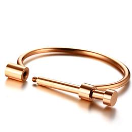 Discount shackle cuffs - Women Shackle Screw Cuff Bracelet Gold Color Stainless Steel Bangle Bracelet Female Love