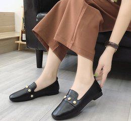 Korean style dress shoes online shopping - Free send autumn new style Korean flat bottom square head women s shoes