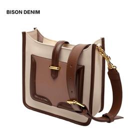 204fe67b32 BISON DENIM Cow Leather Women Bag Vintage Shoulder Bag for Women 2018  Messenger Bags Fashion crossbody bags bolsa feminina N1564