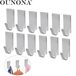 Hooks For Doors NZ - OUNONA 12pcs Stainless Steel Adhesive Door Hook kitchen Hooks Wall Hanger Towel Hooks Wall for Kitchen Bathroom