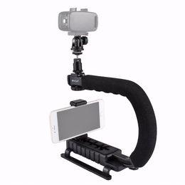 Steadycam Dslr Camera NZ - PULUZ for steadycam U-Grip C-shaped Handgrip Camera Stabilizer w h Tripod Head Phone Clamp adapter for Steadicam DSLR Stabilizer