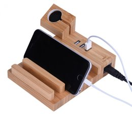 universal tablet charging station UK - Portable Wood Charging Dock Station 3 USB Charger Holder Stand Mount for iWatch for iPhone smartphones, tablets Universal