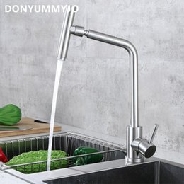 hose body 2018 - 720 Degree Rotation 304 Stainless Steel Body Nickle Hot And Cold Water Kitchen Sink Faucet Curved Outlet Pipe Taps With