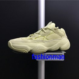 Discount kanye west shoes online shopping - With Box kanye west Desert Rat DB2966 Running Shoes For men women Super Moon Yellow Top Quality Discount Sneakers Size