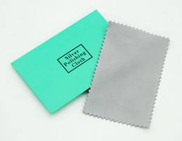 Wholesale 100pcs Grey silver polish cleaning polishing cloth with package silver cleaning cloth wiping cloth of silver jewelry suede maintenance