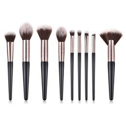 $enCountryForm.capitalKeyWord Australia - 9Pcs Set Makeup Brushes Set special design tube Blush Foundation Concealer Eyeshadow Applicator Fan Flame Micro Brushes tools T09017
