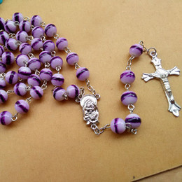 glasses cross NZ - Purple Glass Beads Rosary Necklace European Fashion Religious Jewelry Cross Pendant Long Necklace