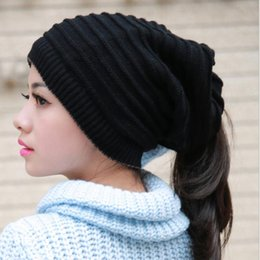 crochet hat for ladies Australia - Seioum Ponytail Beanie Hat Women Crochet Knit Cap Winter Skullies Beanies Warm Caps Female Knitted Stylish Hats For Ladies
