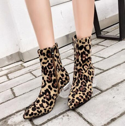 933145f9579d Women Zipper Boots Leopard Ankle Boots Crystal Square heel Fashion Pointed  toe Ladies Sexy shoes