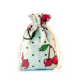 $enCountryForm.capitalKeyWord UK - 10*14cm (100pcs lot) Printed Cherry Linen Fabric Jute Drawstring Bags Gift Package Bags Natural Burlap Bags Reusable Home Decor