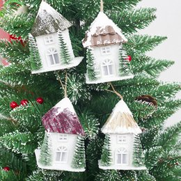 $enCountryForm.capitalKeyWord NZ - Christmas Pendant Drop Orname Wood House for Tree Decorations Ornaments Luminous Cabin House