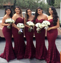 lace wine bridesmaid dresses Australia - 2019 Sexy Burgundy Bridesmaid Dresses Mermaid Sweetheart Lace Long Wine Maid of Honor Wedding Guest Dress Prom Party Gowns