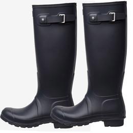 Опт Колено Высокие Сапоги Дождя Rainboots Водонепроницаемые Сапоги Обувь Резиновые Матовый Блеск Rainboots Rainshoes Fit Длинные Носки Для Мужчин Женщин