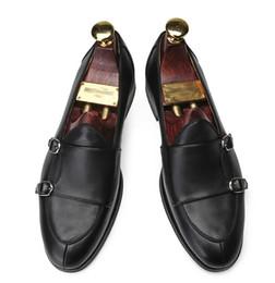 $enCountryForm.capitalKeyWord Canada - high end Handmade genuine leather monk loafers Double buckle row cloak business dress shoes