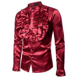 men s red satin shirt 2019 - Halloween Costumes Shirts Luxury Designer Long Sleeve Dress Shirts Silk Shirt Men Slim Fit Men Party Wedding Tuxedo Flow