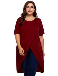 c0a65b0d Plus Size Women Long T-Shirts Tops M-3XL Spring Summer O-Neck Short Sleeve  Solid Loose Hem Tshirt Pullover Oversized