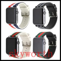 Canvas band strap online shopping - Canvas Genuine Real Leather bands for apple watch strap high hygroscopicity with Buckle Connector mm mm mm mm mm
