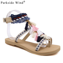 873d21622d68 wholesale Women Flats Shoes PU Leather Buckle Strap Fringe Women Sandals  Summer Ethnic Party Shoes XWA1147-5