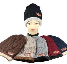 Fallen Hats Australia - 2019 Fashion Knitted Cap flocking Fall Winter Men Cotton Warm Hat CC Skullies Brand Heavy Hair Twist Beanies Solid Color Hip-Hop Wool Hats