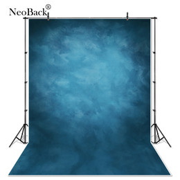 Discount backgrounds portrait photography - NeoBack 5X7 Vinyl Cloth Photography Backdrop Red Background Studio Misty Blue Portrait Photo Backdrop Wedding P1410
