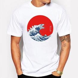 9187f73e3cd0 Camping   Hiking T-Shirts Cool Hokusai Gojira t shirts men funny White hip  pop t-shirt anime Cartoon tee shirt homme de marque discount tee shirt  marque
