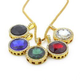 Gold necklace boxes pearls online shopping - Wholesales Colors Round Gemstone Necklaces Hip Hop Choker Gold Chain for Mens Iced Out Chains Designer Jewelry Box Links