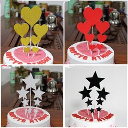 $enCountryForm.capitalKeyWord Australia - CRLEY 10sets 7pcs cake toppers set silver gold red black glitter hand made top quality birthday cupcake flag wedding decoration