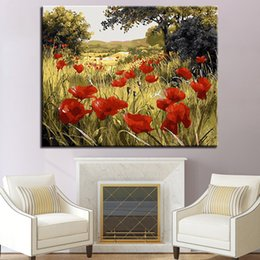 Discount painting poppy flowers painting poppy flowers 2018 on painting poppy flowers 2018 framed painting by numbers diy digital red poppy flowers field oil mightylinksfo