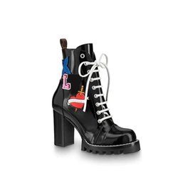 Safety high heelS online shopping - Luxury Brand Star Trail Ankle Boot High Heeled Heel Shoes Booties Boots With Patches Ankle High Heel Boots A2Y7U A2Y89 A3Swy