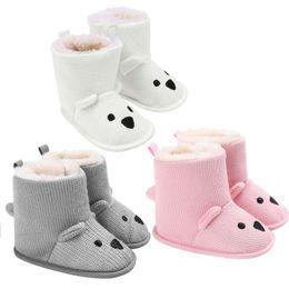 $enCountryForm.capitalKeyWord NZ - Cute Cartoon Baby Shoes Bear Snow Boots Shoes Newborn Baby Girl Boy Toddler Crochet Knitted Fleece Winter Warm
