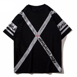 e3a9bc4339d Spring Summer Short Sleeve Men T-shirt Punk Style Cross Letter Printing  Cotton T-shirts Couple Cool Tees