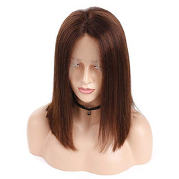Straight Gluless Lace Front Human Hair UK - #4 Short Bob Lace Front Human Hair Wig Malaysian Remy Brown Bob Wig For Women Gluless Pluck With Baby Hair Full End Wig