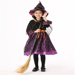 velvet clothes design Canada - Halloween Children's Three-dimensional Tailoring Design Costumes European and American Girls Cosplay Witch Anime Dance Performance Clothing