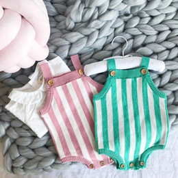 $enCountryForm.capitalKeyWord Canada - INS baby knitting romper spring little kids stripes suspender rompers babies out wear clothing girls boys cotton triangle jumpsuits Y6019