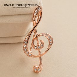 $enCountryForm.capitalKeyWord Canada - Rose Gold Color Rhinestones Fully Setting Musical Note Element Classic Lady Brooch (Gold Silver) Wholesale 18krgp
