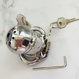 $enCountryForm.capitalKeyWord NZ - Hinged Curve Base Ring 2 Lock Design Stainless Steel Chastity Device Men Open 1 Lock To Pee Male Chastity Cage With Spike Ring