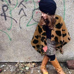 Girls Cotton Poncho Wholesale Australia - INS Baby Girls Leopard Cape Christmas Poncho Coat Outerwear 2018 New Autumn Winter Warm Fashion Cardigan Coat Kids Outerwear D008
