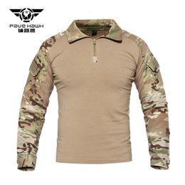 Discount camouflage tactical shirt - Tactical T Shirts Men Army rip-stop SWAT Combat Shirts Python Camouflage Male T-Shirts Long Sleeve Air soft Hunt Shirt