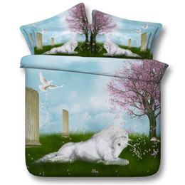 $enCountryForm.capitalKeyWord NZ - 3D white unicorn bedding sets animal duvet cover floral bedspreads comforter cover Bed Linen Quilt Covers animal bed cover for adults 3pc