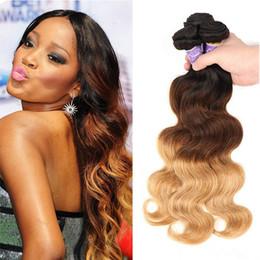 $enCountryForm.capitalKeyWord NZ - 3 Bundle Deals Ombre Brazilian Virgin Hair Weaves 1B 4 27 Three Tone Honey Blonde Ombre Colored Body Wave Human Hair Extensions