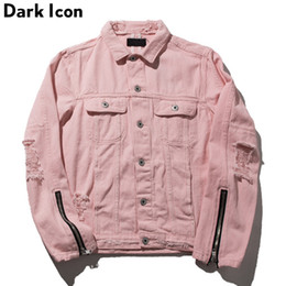 42aa7473875 Zipper on Sleeve Destroyed Denim Jacket Men 2017 Autumn Turn-down Collar  Hip Hop Jackets Pink Jackets Women