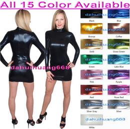 48feee51e0 Sexy Women Nightclub Dress New 15 Color Shiny Lycra Metallic Dresses Sexy  Women Party Dresses Back Zip Halloween Party Fancy Dresses DH076