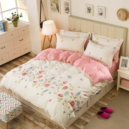 Discount bedding side - Beautiful Floral Print AB Side Duvet Cover Twin Full Queen Size Bedding Cover For Children Adults Single Double Bed XF34