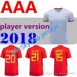 684959924 Top Thai PLAYER VERSION World Cup 2018 spain home red away white soccer  Jersey Free shipping wholesale 17 18 ISCO España away football shirt