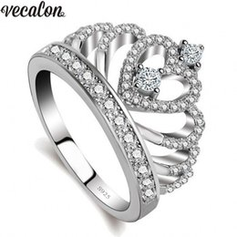 Silver Filled NZ - Vecalon 2018 Lovers Crown ring AAAAA Zircon Cz 925 Sterling Silver Filled Engagement wedding Band ring for women men Y1891205
