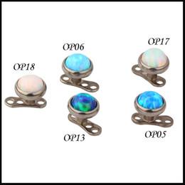 Wholesale 100% Titanium G23 Piercing Opal Stone Top dermal Anchor piercing body jewelry attachments-jewelley Micro Skin Diver Dermal