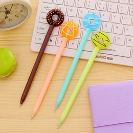 Korean School Stationery Australia - 0.38mm Cute Kawaii Donuts Gel Pen Lovely Candy Color School Pens For Kids Writing Gift Korean Stationery