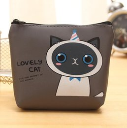 Cute Cooler bags online shopping - Korean style Cartoon cat change purses cute student cool Mini coin purse girls kids hand bag Pu leather holders pouch